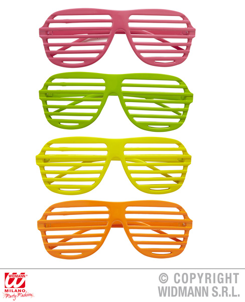 NEON SHUTTER GLASSES - pink/green/yellow/orange