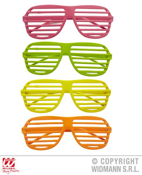 NEON SHUTTER GLASSES - pink/green/yellow/orange