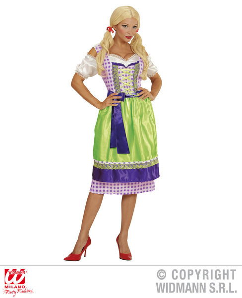 DIRNDL BAVARIAN - GREEN / PURPLE (dress with apron)
