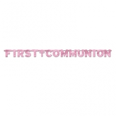 Pink First Communion Letter Banner