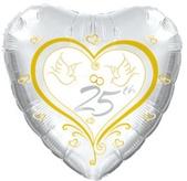 25th Anniversary Doves Foil Balloon