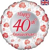 Happy 40th Anniversary 18 Inch Foil