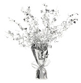 Weighted Centrepiece Silver Hearts Spray
