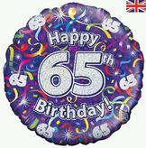 65th Birthday Streamers Foil Balloon