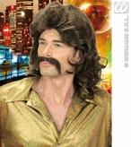 70s Man Wig & Moustache Brown