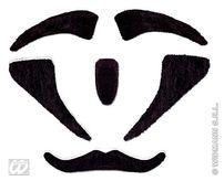 Eyebrows Sideburns Tash & Goatee Black Adhes