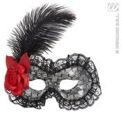 Black Lace Eyemask With Rose