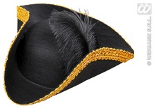 Tricorn Hat Felt With Feather