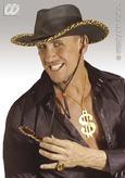 Cowboy Hat Black Leather Look With Leopard Trim