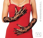 Black Lace Gloves 40cm