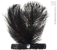 Black Sequin Headband With 2 Feathers
