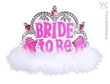Bride To Be Tiara With White Marabou