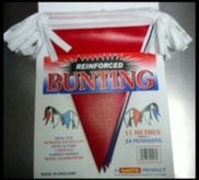 Bunting Red White & Blue 11mt Reinforced Plastic