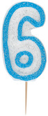 Blue Glitz Numeral 6 Candle