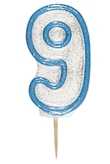 Blue Glitz Numeral 9 Candle