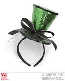 Green Glitter Mini Top Hat On H/Band