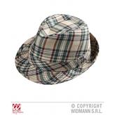 Beige Tartan Fedora Hat