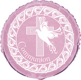 Cross Pink Communion Foil Balloon