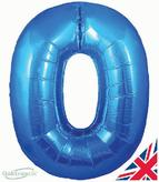 Number 0 Blue Foil Balloon 30 Inch