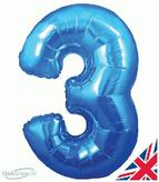 Number 3 Blue Foil Balloon 30 Inch