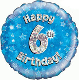 6th Birthday Blue Holographic Foil Balloon