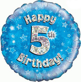 5th Birthday Blue Holographic Foil Balloon