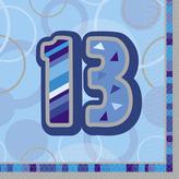 Blue Glitz Lunch Napkins Age 13