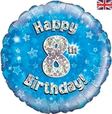 8th Birthday Blue Holographic Foil Balloon