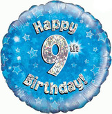 9th Birthday Blue Holographic Foil Balloon