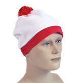 Bobble Hat White With Red Pom