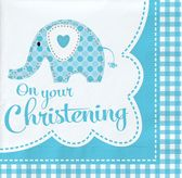 Blue Christening Elephant Lunch Napkins 2ply