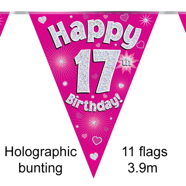 Bunting Happy 17th Birthday Pink 11 Flags 39m The Party Store