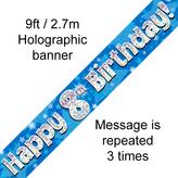 Happy 8th Birthday Banner Blue 2.7mt Holograph
