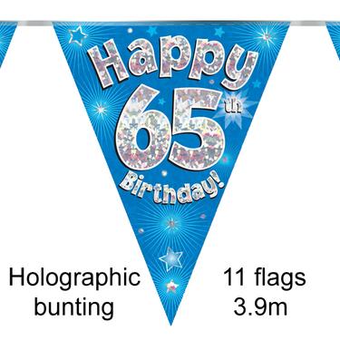 Bunting Happy 65th Birthday Blue 11 Flags 39m