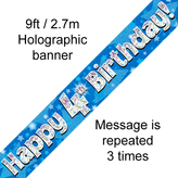 Happy 4th Birthday Banner Blue 2.7mt Holograph