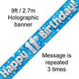 Happy 11th Birthday Banner Blue 2.7mt Holograph