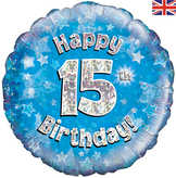 15th Birthday Blue Holographic Foil Balloon