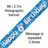 Happy 6th Birthday Banner Blue 2.7mt Holograph