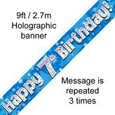 Happy 7th Birthday Banner Blue 2.7mt Holograph