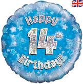 14th Birthday Blue Holographic Foil Balloon