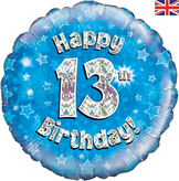 13th Birthday Blue Holographic Foil Balloon