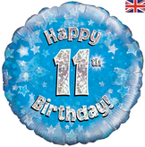 11th Birthday Blue Holographic Foil Balloon