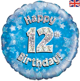 12th Birthday Blue Holographic Foil Balloon
