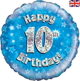10th Birthday Blue Holographic Foil Balloon
