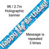 Happy 14th Birthday Banner Blue 2.7mt Holograph