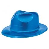 70s Disco Blue Plastic Fedora Hat