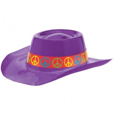 60s Groovy Purple Plastic Fedora Hat