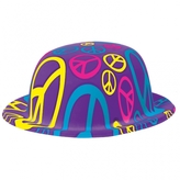 60s Groovy Peace Plastic Bowler Hat