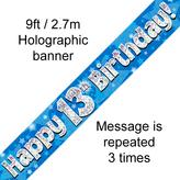 Happy 13th Birthday Banner Blue 2.7mt Holograph