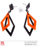Black & Orange Rhombus Earrings